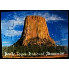 Devils Tower Blue Sky Puzzle Postcard