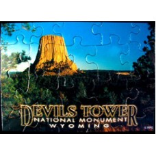 Devils Tower in Trees Puzzle Postcard
