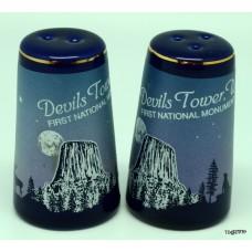 Cobalt Blue Devils Tower Salt and Pepper Shakers