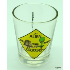 Alien Crossing Shot Glass